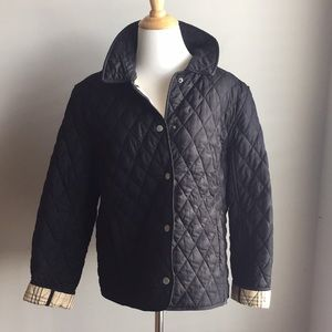 LL Bean Black Quilted Riding Jacket LP Pristine